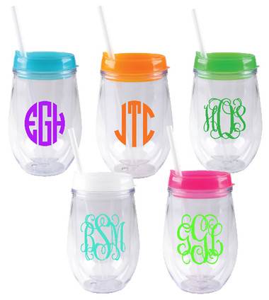 Monogrammed Acrylic Stemless Wineglasses www.tinytulip.com
