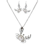 Preppy Crab Necklace and Earring Set
