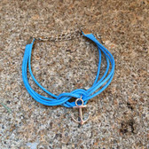Faux Leather Blue Infinity Anchor Bracelet
