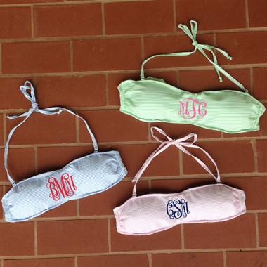 Monogrammed Seersucker Bandeau with Straps www.tinytulip.com