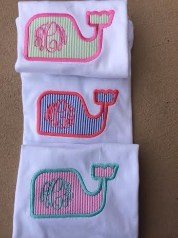 Monogrammed Seersucker Whale Applique T-shirt