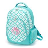 Monogrammed Aqua Geometric Print Backpack www.tinytulip.com