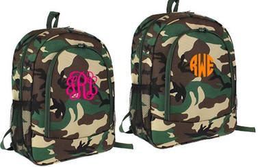 Monogrammed Camo Backpack www.tinytulip.com