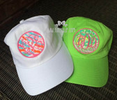 Monogrammed Lilly Pulitzer Fabric Baseball Hat www.tinytulip.com