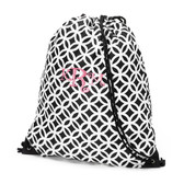 Monogrammed Black Geometric Drawstring Gym Backpack