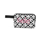 Monogrammed Black Geometric Pencil Accessory Bag
