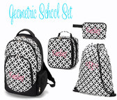 Monogrammed Black Geometric Backpack Gym Lunch and Pencil Bag Set www.tinytulip.com