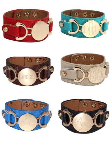 Monogrammed Engraved Leather Cuff Bracelets www.tinytulip.com