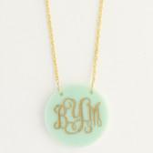 Gold-Tone Seafoam Round Acrylic Monogram Necklace www.tinytulip.com