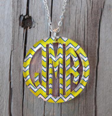 Bordered Chevron Monogram Pendant Necklace www.tinytulip.com