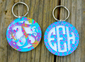 Pattern Layered Circle Monogram Keychain www.tinytulip.com