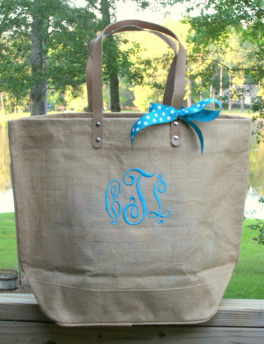 Paris Style - Large Jute Tote  www.tinytulip.com Sand Jute Tote with Turquoise Victory Font