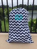 Monogrammed Chevron Laundry Bag www.tinytulip.com Navy with Turquoise Interlocking Font