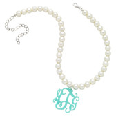 Pearl Necklace with Acrylic Monogram www.tinytulip.com