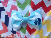 Monogrammed Chevron Hair Bow www.tinytulip.com Navy Circle Font on Turquoise Chevron