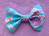 Monogrammed Lilly Pulitzer Fabric Hair Bow www.tinytulip.com Preppy Pink Circle Font on Jellies Be Jammin