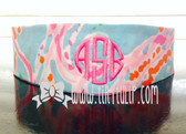 Monogrammed Lilly Pulitzer Headband www.tinytulip.com Preppy Pink Circle Font on Jellies Be Jammin
