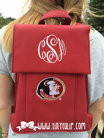 Monogrammed Florida State Seminoles FSU Satchel Backpack www.tinytulip.com