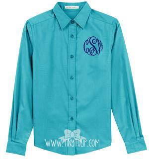 Monogrammed Ladies Turquoise Oxford Shirt www.tinytulip.com