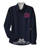 Monogrammed Ladies Navy Oxford Shirt www.tinytulip.com