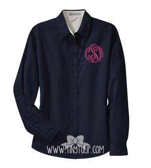 Monogrammed Ladies Navy Oxford Shirt www.tinytulip.com