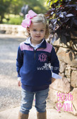 Monogrammed Youth Navy Gingham Small Pullover www.tinytulip.com Preppy Pink Interlocking Monogram