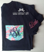 Lilly Pulitzer Pocket Big & Little TShirt www.tinytulip.com Navy Emma Font on Lobstah Roll