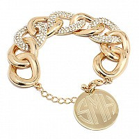 Oval Chain Link Gold Tone Engraved Bracelet www.tinytulip.com