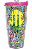 Lilly Pulitzer Monogrammed Hot Spot Large Tumbler with Lid  Yellow Circle Font