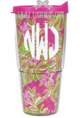 Lilly Pulitzer Monogrammed Jungle Tumble Large Tumbler with Lid www.tinytulip.com White Circle Font