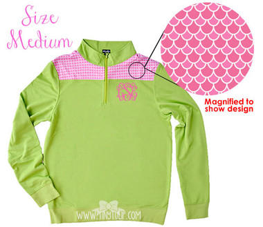 Monogrammed Green Pink Scales Pullover Medium www.tinytulip.com