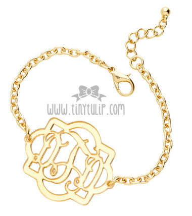 Fancy Acrylic Monogram Bracelet www.tinytulip.com Gold Mirror