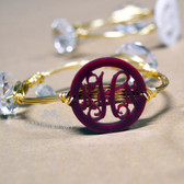 Acrylic Monogram Wire Bangle www.tinytulip.com Maroon