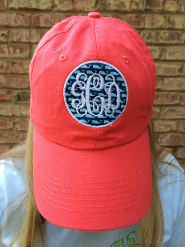 Monogrammed Vineyard Vines Baseball Hat www.tinytulip.com White Interlocking Font on Navy Whales