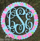 Lilly Pulitzer Inspired Bordered Wooden Interlocking Monogram  www.tinytulip.com