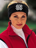 Monogrammed Fleece Headband  www.tinytulip.com Black Headband with White Interlocking Font