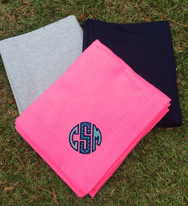 Monogrammed Vineyard Vines Stadium Sweatshirt Blanket www.tinytulip.com Bright Pink with Multi fabric Whales in Navy Thread color