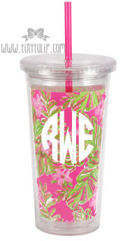 Lilly Pulitzer Jungle Tumble Acrylic Tumbler with Straw Monogrammed   White Circle Font