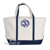 Monogrammed Canvas Navy Medium Boat Tote Navy with Master Script Font  www.tinytulip.com