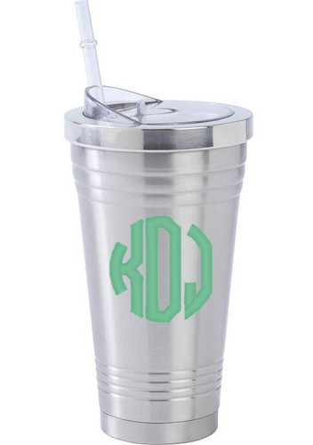 Monogrammed Stainless Steel Tumbler with Straw www.tinytulip.com