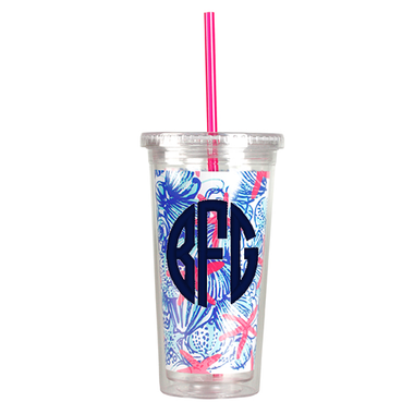 Monogrammed Lilly Pulitzer Acrylic Tumbler with Straw She She Shells www.tinytulip.com