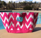 Hot Pink Chevron Reusable Eco Friendly Monogrammed Beach Bag  www.tinytulip.com Teal Interlocking Font