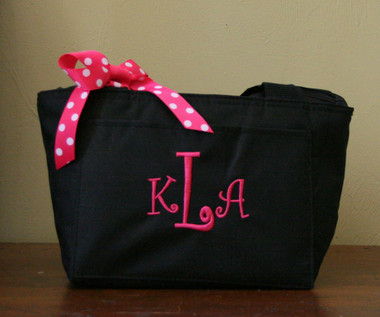 Black Lunchbag with Hot Pink Curly Font