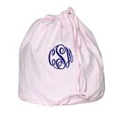 Monogrammed Pink Seersucker Ditty Bag www.tinytulip.com Navy  Master Script Font