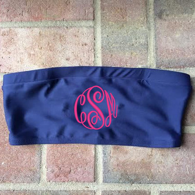 Monogrammed Tube Bandeau Bathing Suit Top www.tinytulip.com Navy with Hot Pink Master Script Font