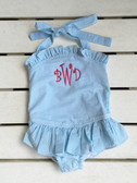 Monogrammed Turquoise Girls Seersucker One Piece Swim Bathing Suit www.tinytulip.com