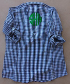 Monogrammed Gingham PFG Fishing Shirt www.tinytulip.com Navy Gingham PFG with Kelly Green Circle Font
