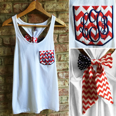 Monogrammed American Flag Stars & Stripes Bow Racerback Tank www.tinytulip.com White Tank Top with Red Chevron Pocket Navy interlocking Font
