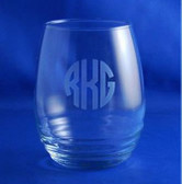 Monogrammed Engraved Ripple Glass Stemless Wine Glass www.tinytulip.com