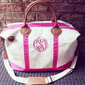 Monogrammed Hot Pink Classic Satchel Duffle Weekender Bag www.tinytulip.com